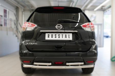 Nissan X-Trail 2015 Защита заднего бампера d63 (дуга) d42х2 (дуга) NXZ-002093